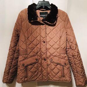 Weatherproof Women's Tan Puffer Fur Lined Jacket